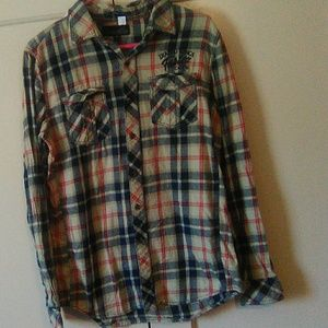 21Men plaid long sleeve button shirt Medium  #234